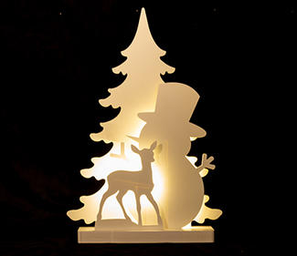PVC board tree with snowman 19LED 40x8x60cm  DD-3018